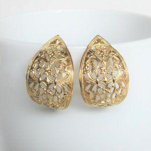 Vintage Gold-Tone Filigree Earrings